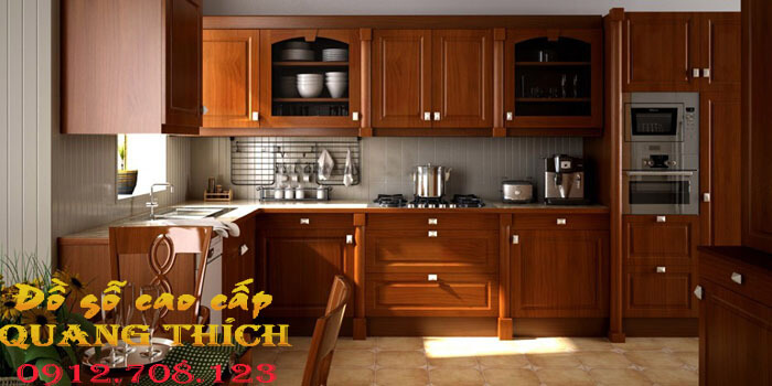 nội thất phòng bếp gỗ dổi