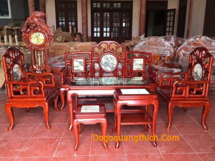 bàn ghế gỗ gụ nguyên khối
