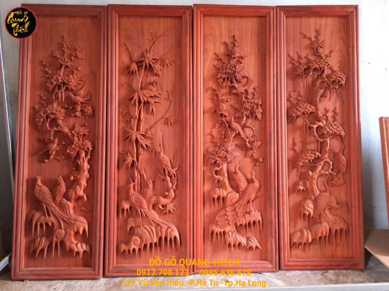 Tranh tứ quý bằng gỗ hương cao cấp