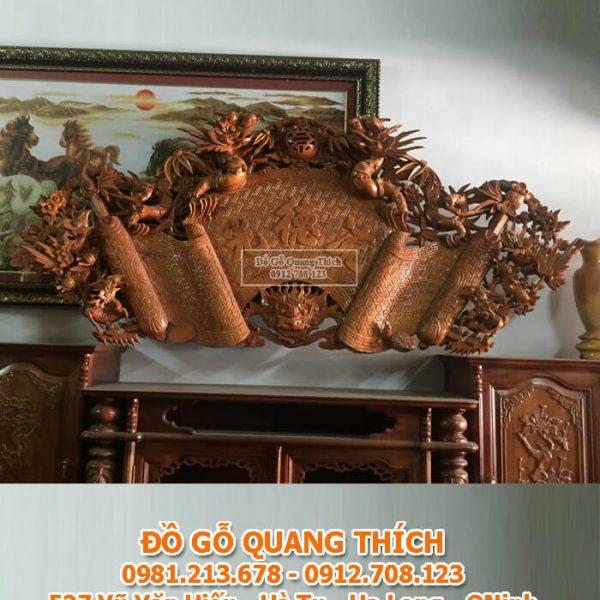 bộ cuốn thư câu đối gỗ mít cao cấp QT220