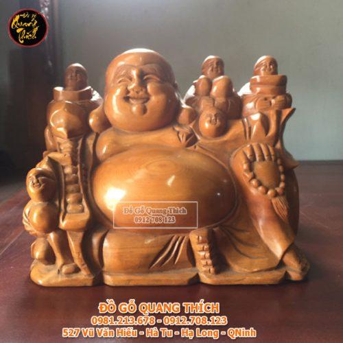 Tượng Phật Di Lặc Ngũ Phúc Gỗ PơMu Liền Khối 28x18x35cm