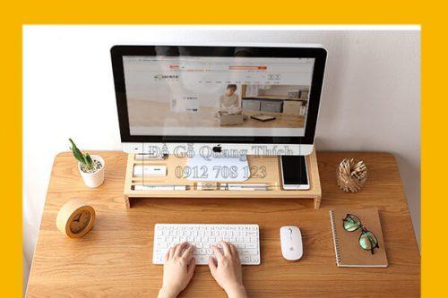 Kệ đỡ màn hình máy vi tính, laptop bằng gỗ QT05